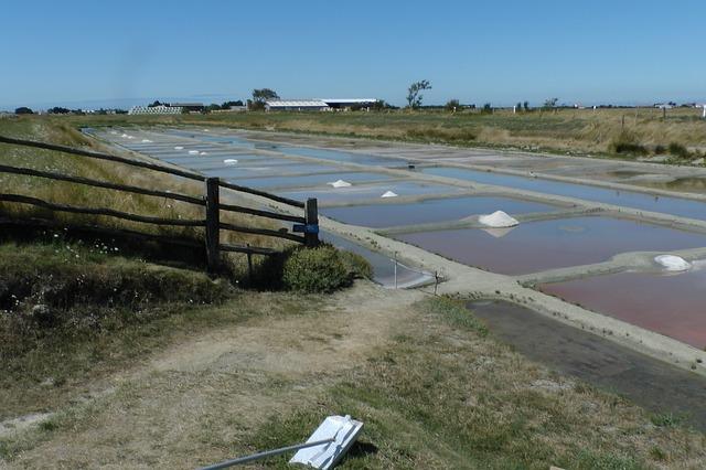 Salt bassin med naturlig fordampning fra solens energi.