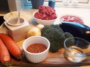 Ingredienser til grøntsagslasagne